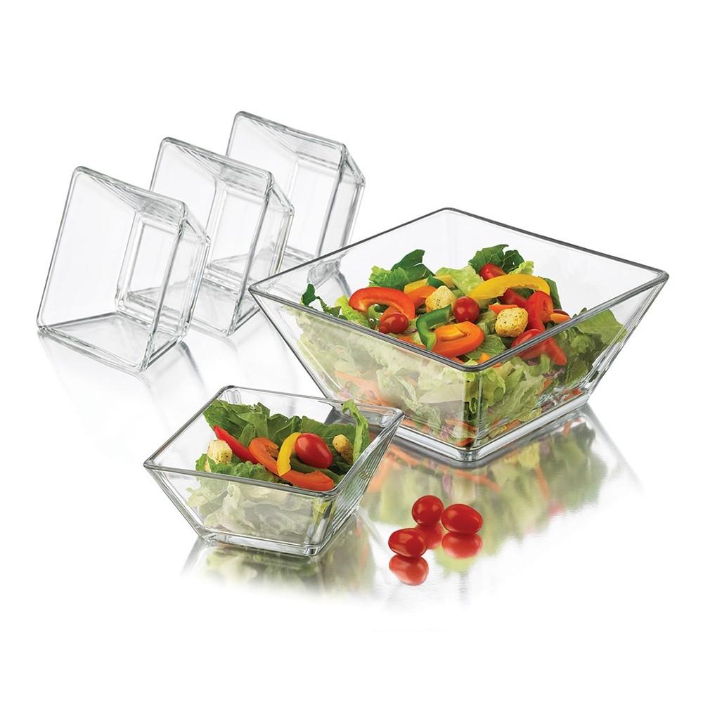 Jogo De Saladeira Transparente Libey  com 5 Pecas -  2,5L / 500 ml