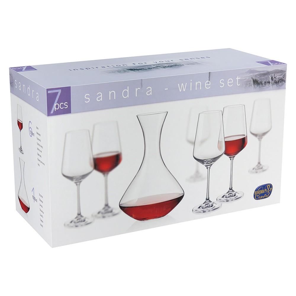 Jogo Decanter e Taças 1,5L / 350ml Cristal Transparente Bohemia -  7 pçs - Sandra
