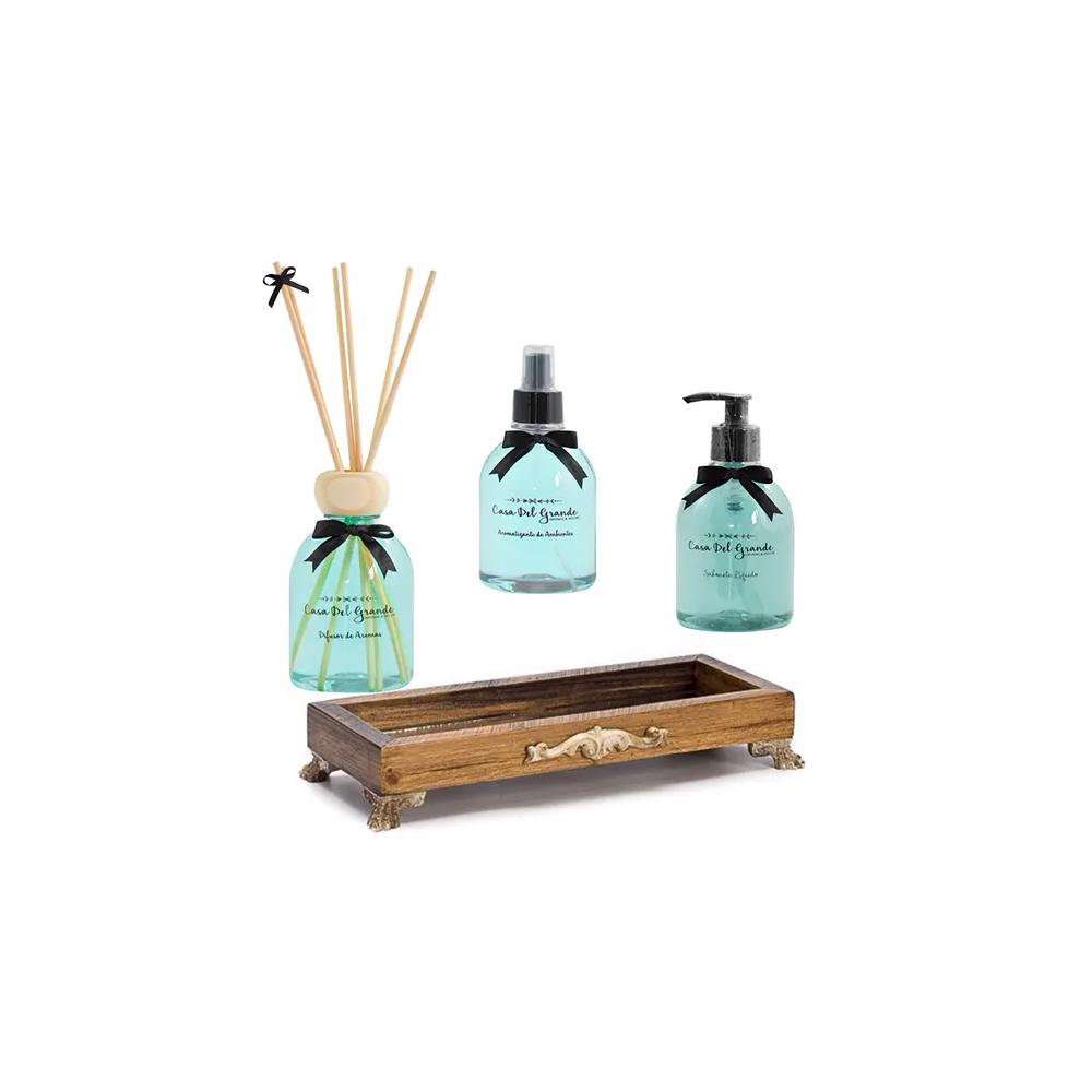 Kit Aromas Alecrim (Difusor + Aromatizante + Sabonete + Bandeja Espelhada)