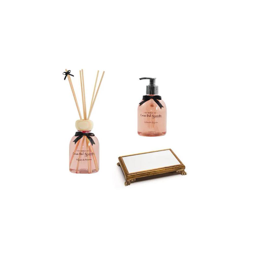 Kit Aromas Palmarosa (Difusor + Sabonete + Bandeja Espelhada)