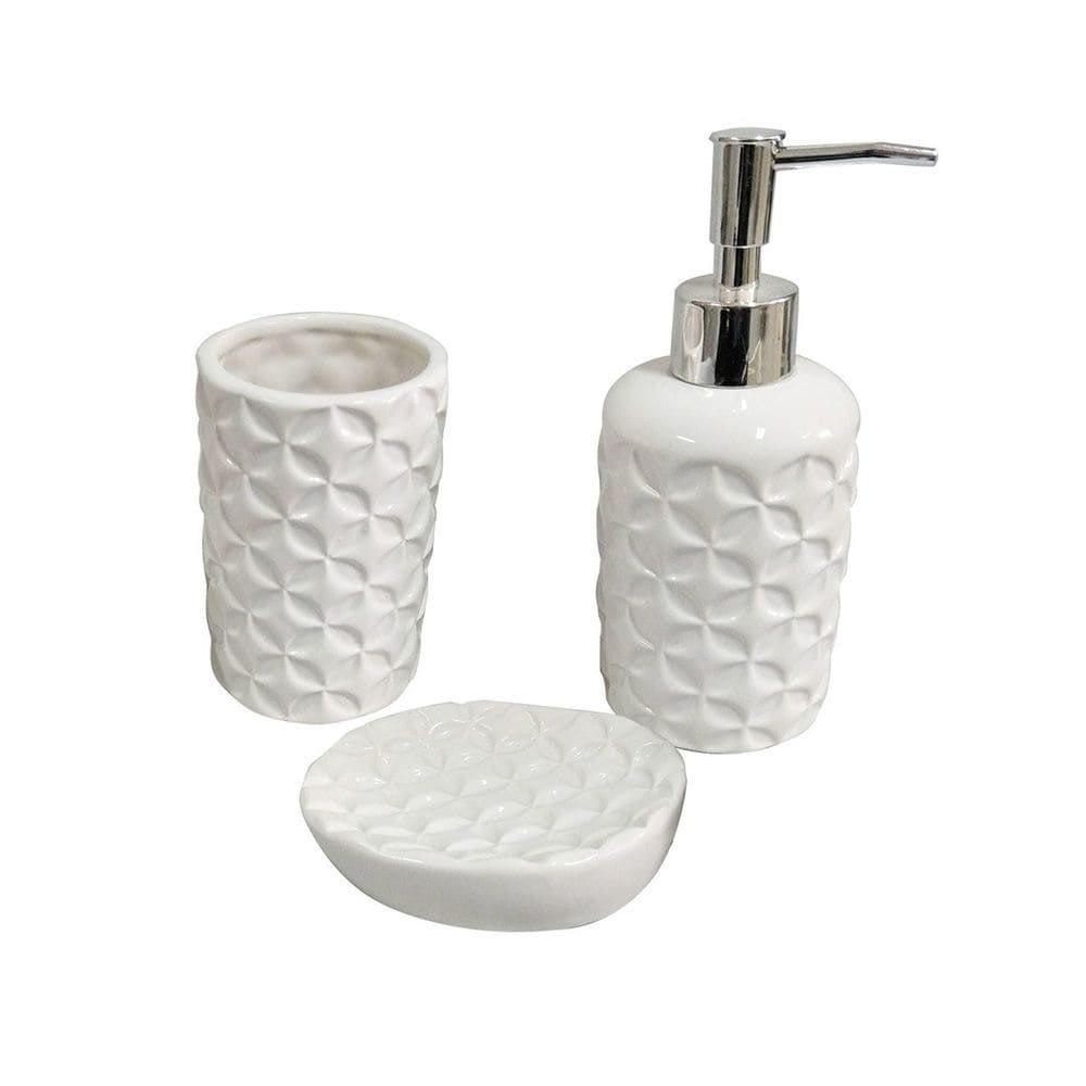 Kit Banheiro com 3 Peças em Cerâmica Star Branco