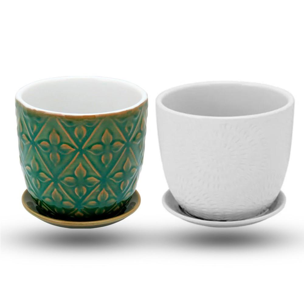 Kit Cachepots em Cerâmica com Prato Acoplado