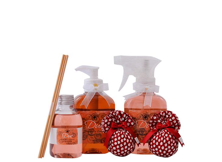 Kit Tamarindo e Damasco (Sabonete Líquido + Aromatizante Ambiente + Difusor de Aromas + Sachês Perfumados)