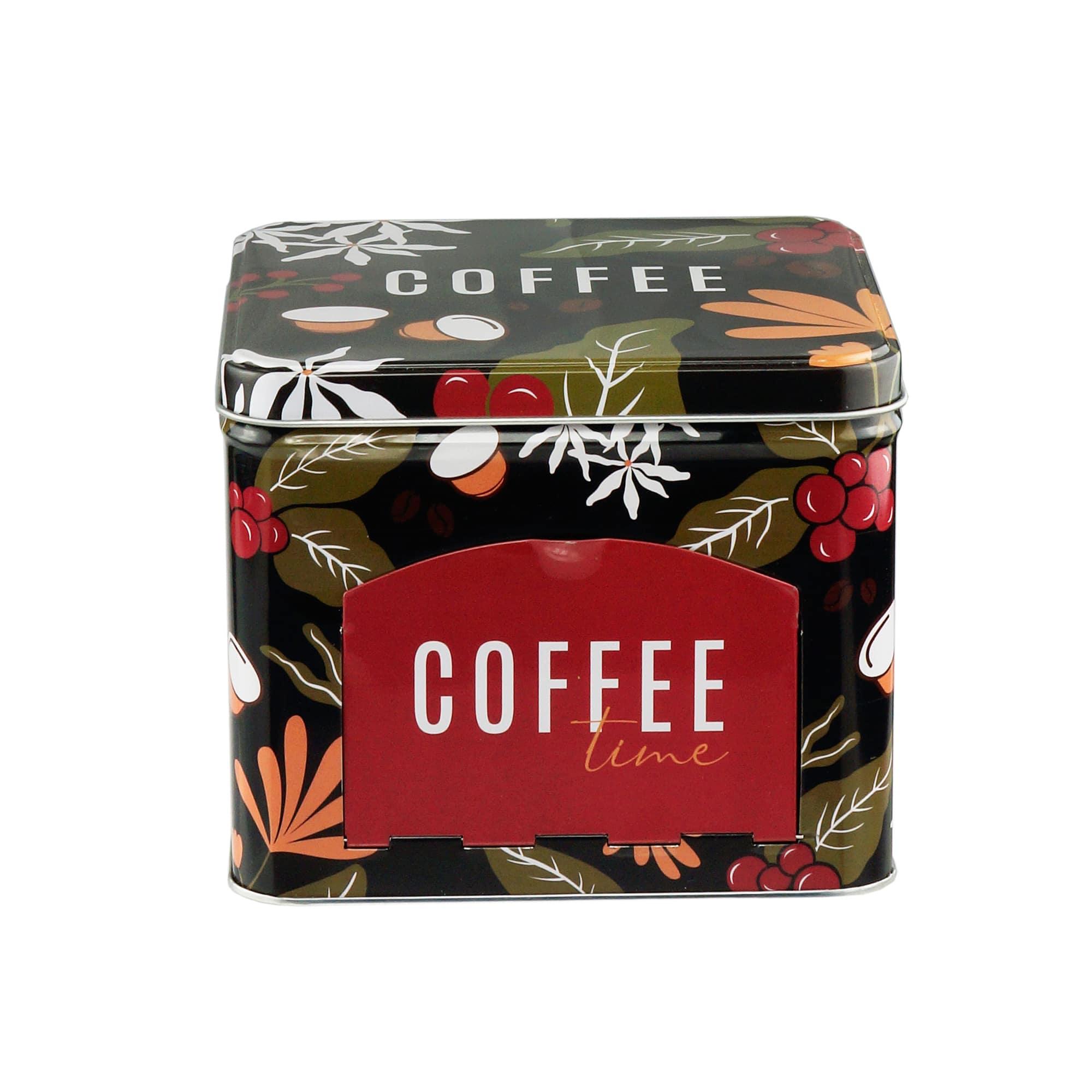 LATA PORTA CAPSULAS METAL COFFEE FLOWERS PRETO 15x15x12,5cm