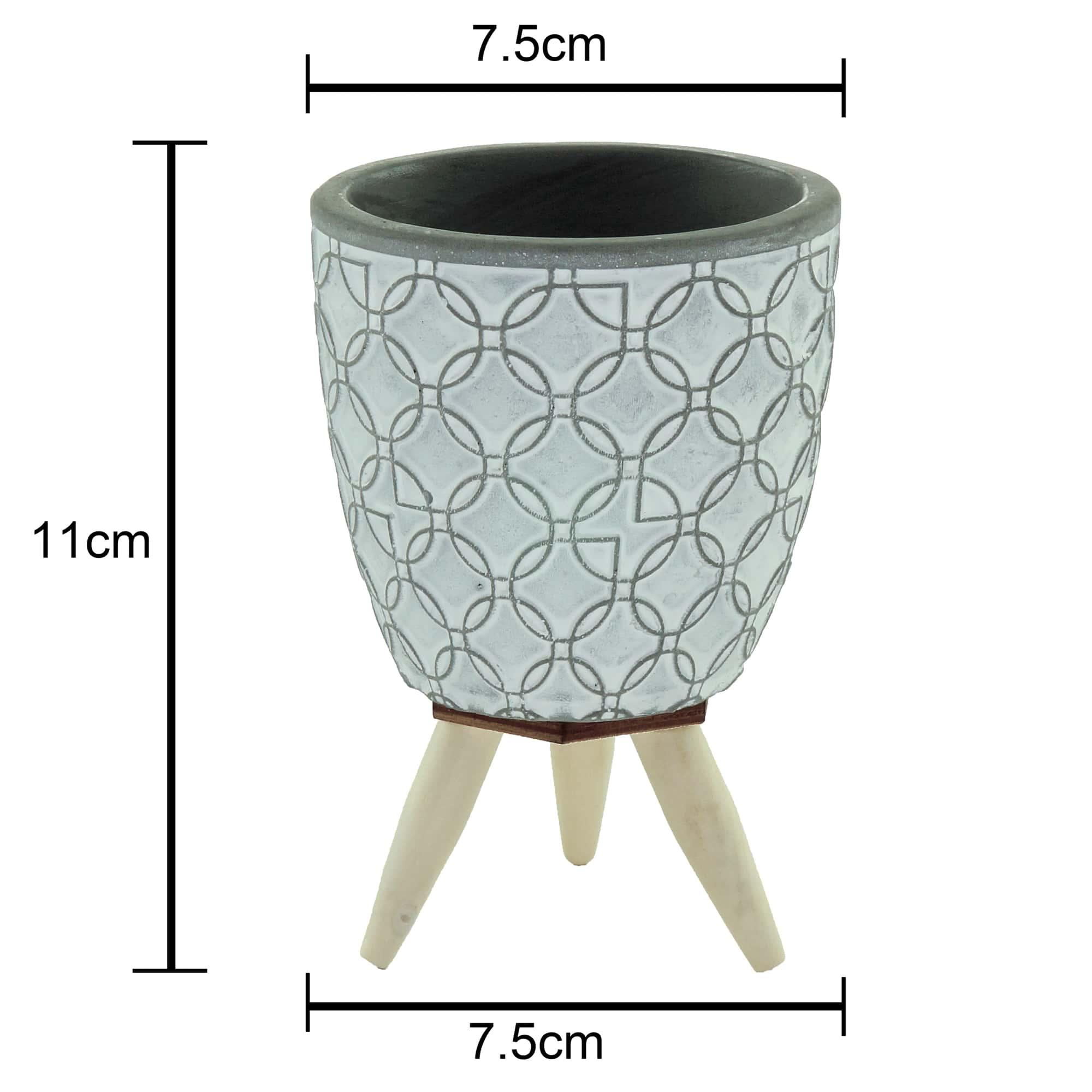 Mini Cachepot Concreto c/ Pé p/ Suculentas e Decoração
