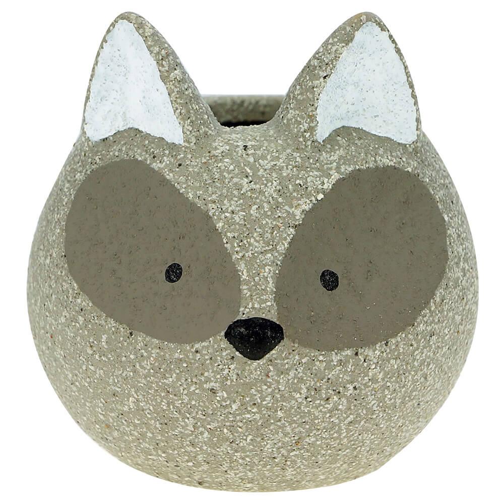 Mini Cachepot Concreto Fox Ninja Cinza 8,5 x 8,5 x 8,5 cm