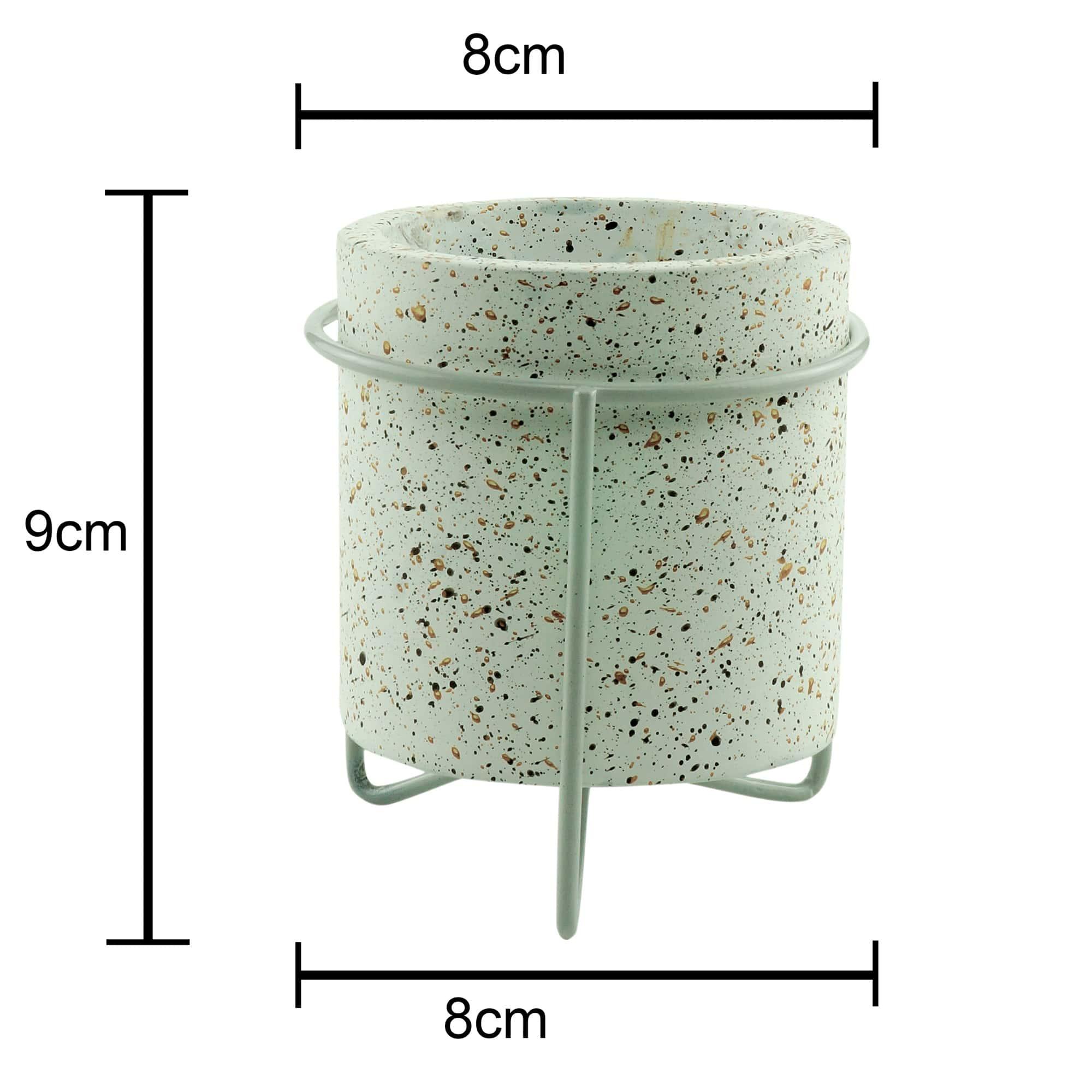 Mini Cachepot Concreto Granilite Metal Stand Branco 8 x 8 x 9 cm
