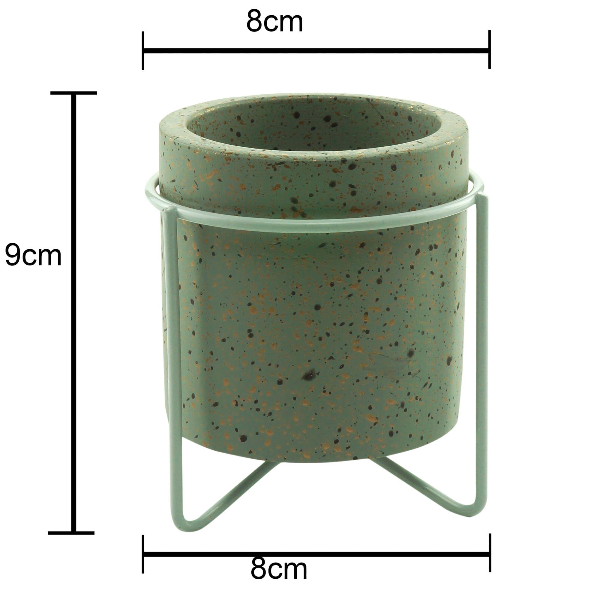 Mini Cachepot Concreto Granilite Metal Stand Cinza 8 x 8 x 9 cm