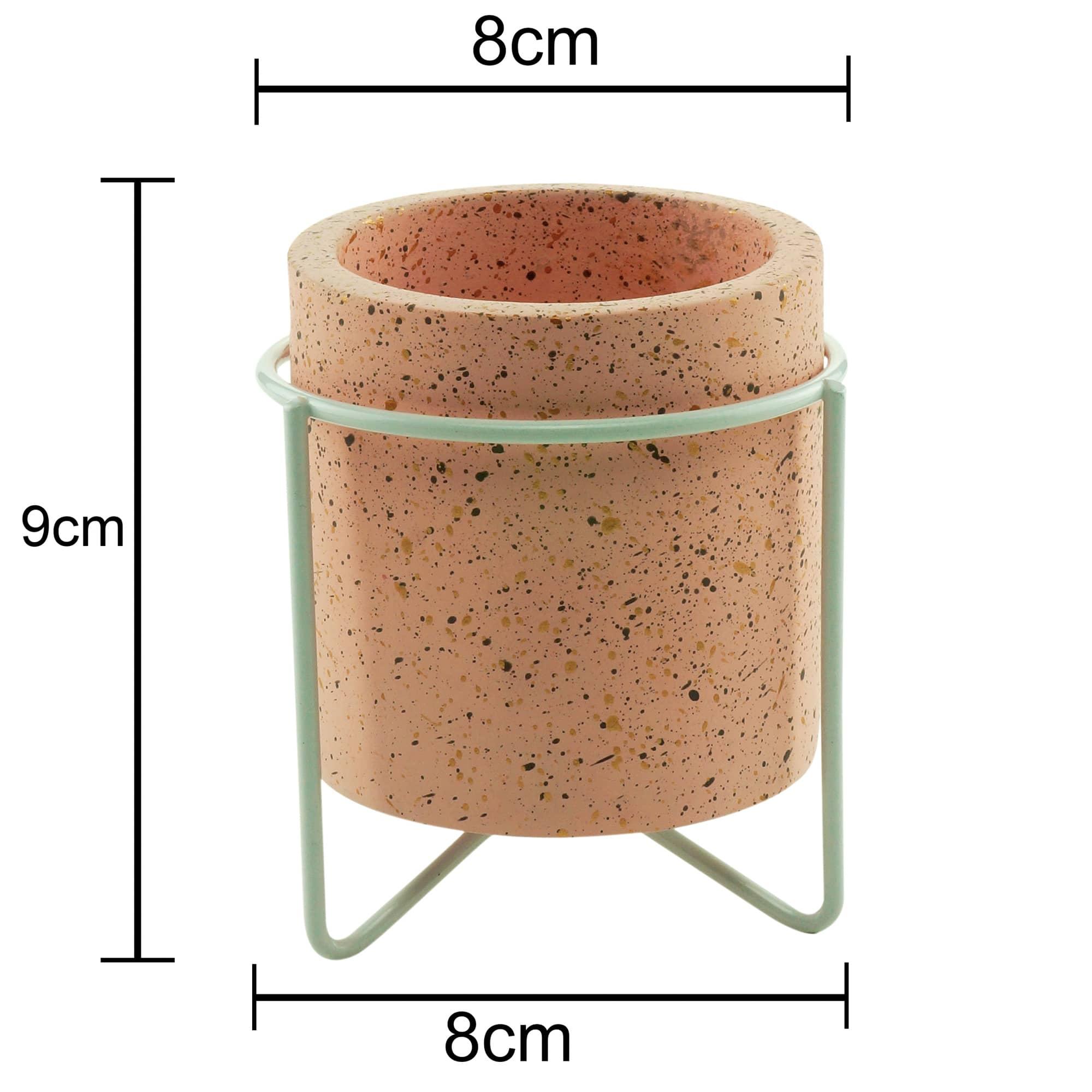 Mini Cachepot Concreto Granilite Metal Stand Rosa 8 x 8 x 9 cm