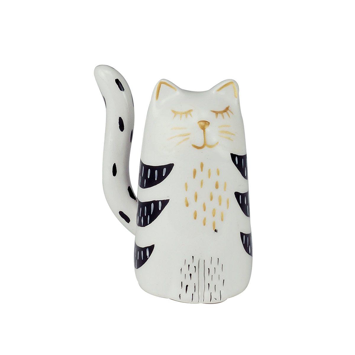 Gato Em Cerâmica Preto E Branco Para Decoração Gatinho