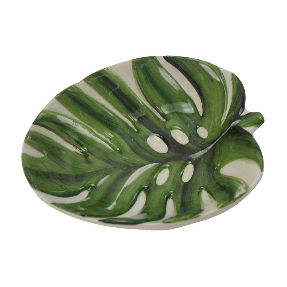 Petisqueira Em Cerâmica Branca E Verde 14,7x11,8cm Decoração Casa/Cozinha