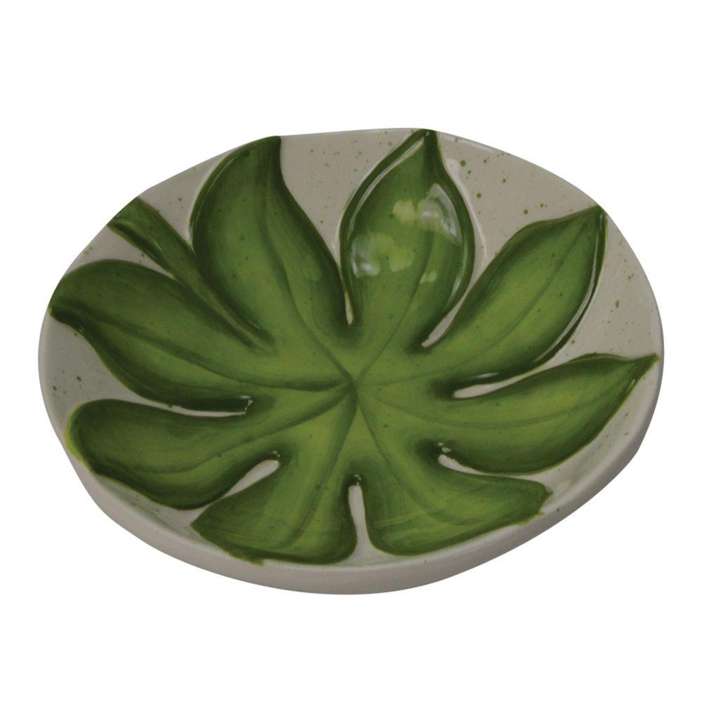 Petisqueira Folhas em Cerâmica Branca e Verde Flor Decoração Casa/Cozinha
