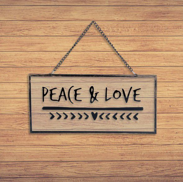 Placa Decorativa com Alça Peace & Love Vidro Metal Decor Quarto Sala