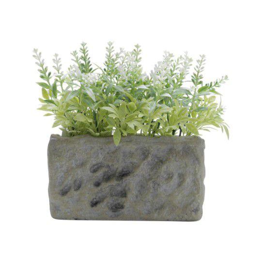 Vaso com Plantas Artificiais Stone Vase Folhas Verdes 16x18x8,5cm