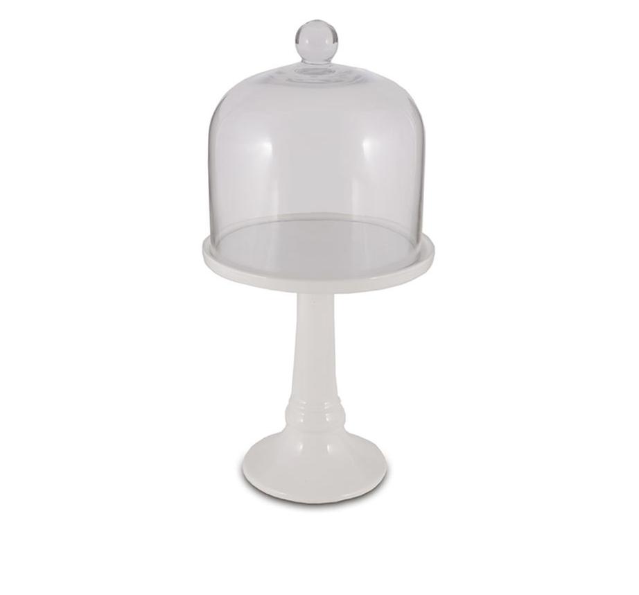 Porta Doce em Cerâmica com Cúpula de Vidro 15 x 30 cm Decoração Festas Buffet