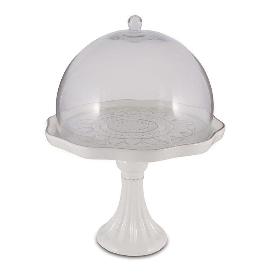 Porta Doce em Cerâmica com Cúpula de Vidro 24x31cm Decoração Festas Buffet