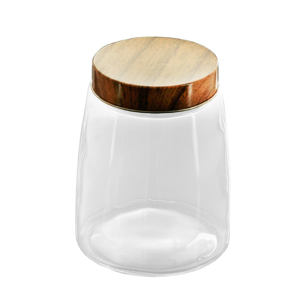 Porta Mantimentos / Pote de Vidro com Tampa Metálica Estilo  Madeira 12,5 X 16,5 cm