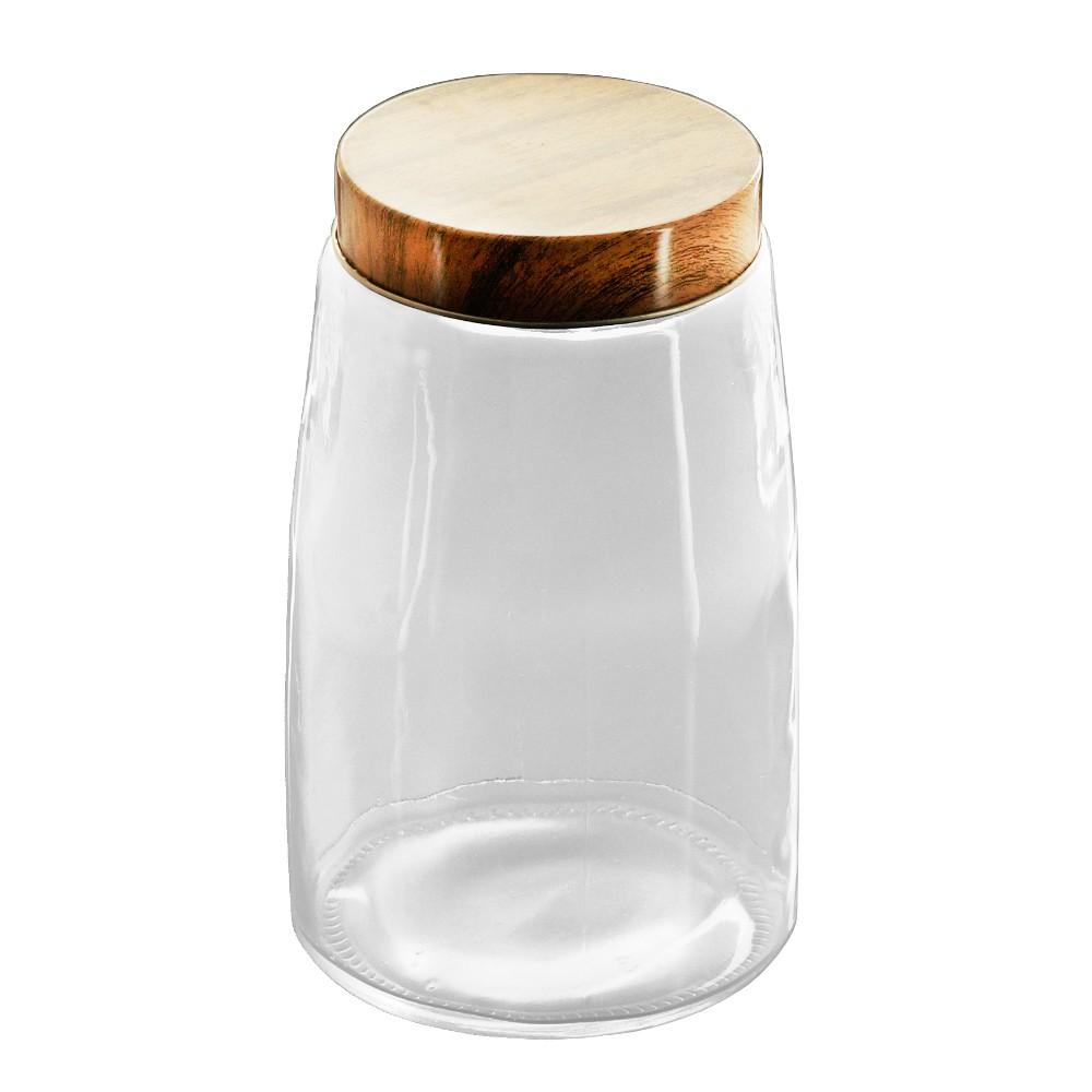 Porta Mantimentos / Pote de Vidro com Tampa Metálica Estilo  Madeira 12,5 x 20,5 cm