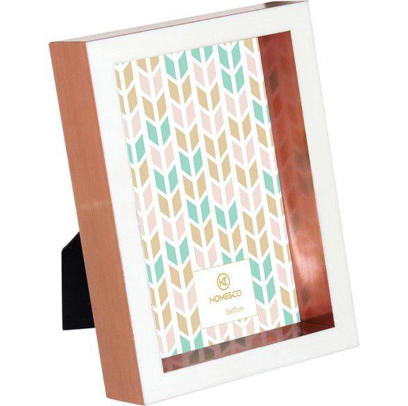 Porta Retrato de Plástico branco e cobre para Decoração Casa/Sala 10x15cm