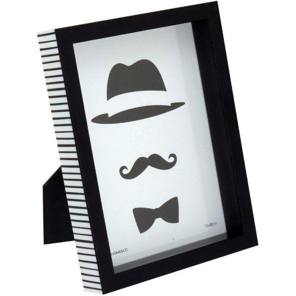 Porta Retrato de Plástico Preto para Decoração Casa/Sala 13x18cm