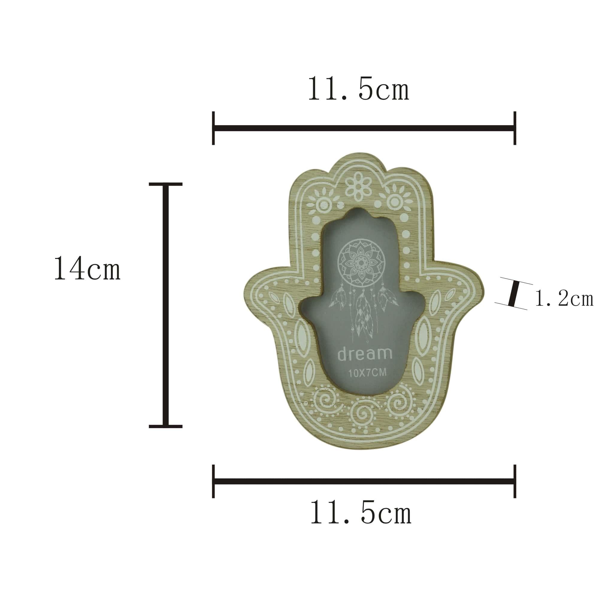 Porta Retrato Madeira Mão de Fátima Hamsá Decoração
