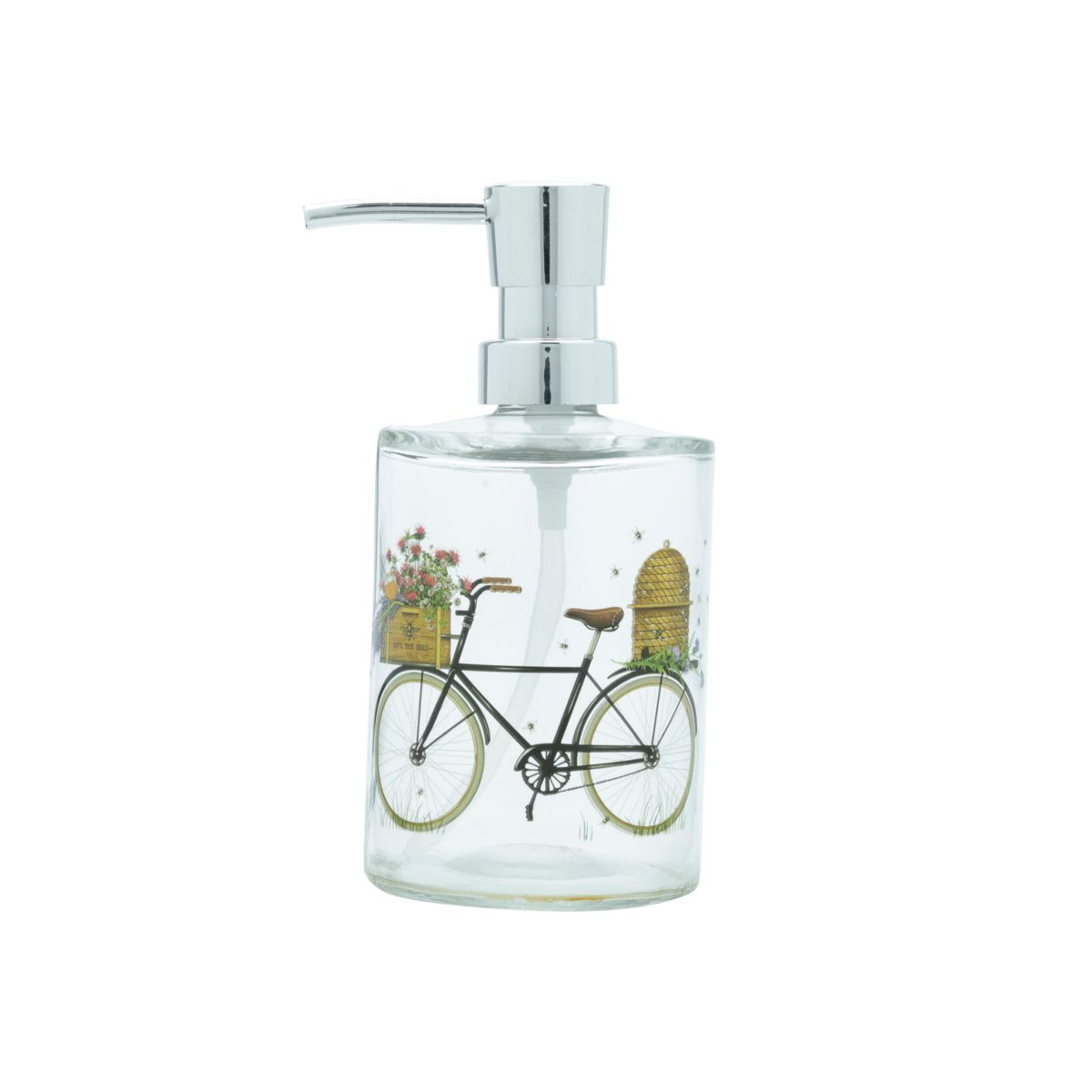 Porta Sabonete Líquido de Vidro Bike And Flower 400ml