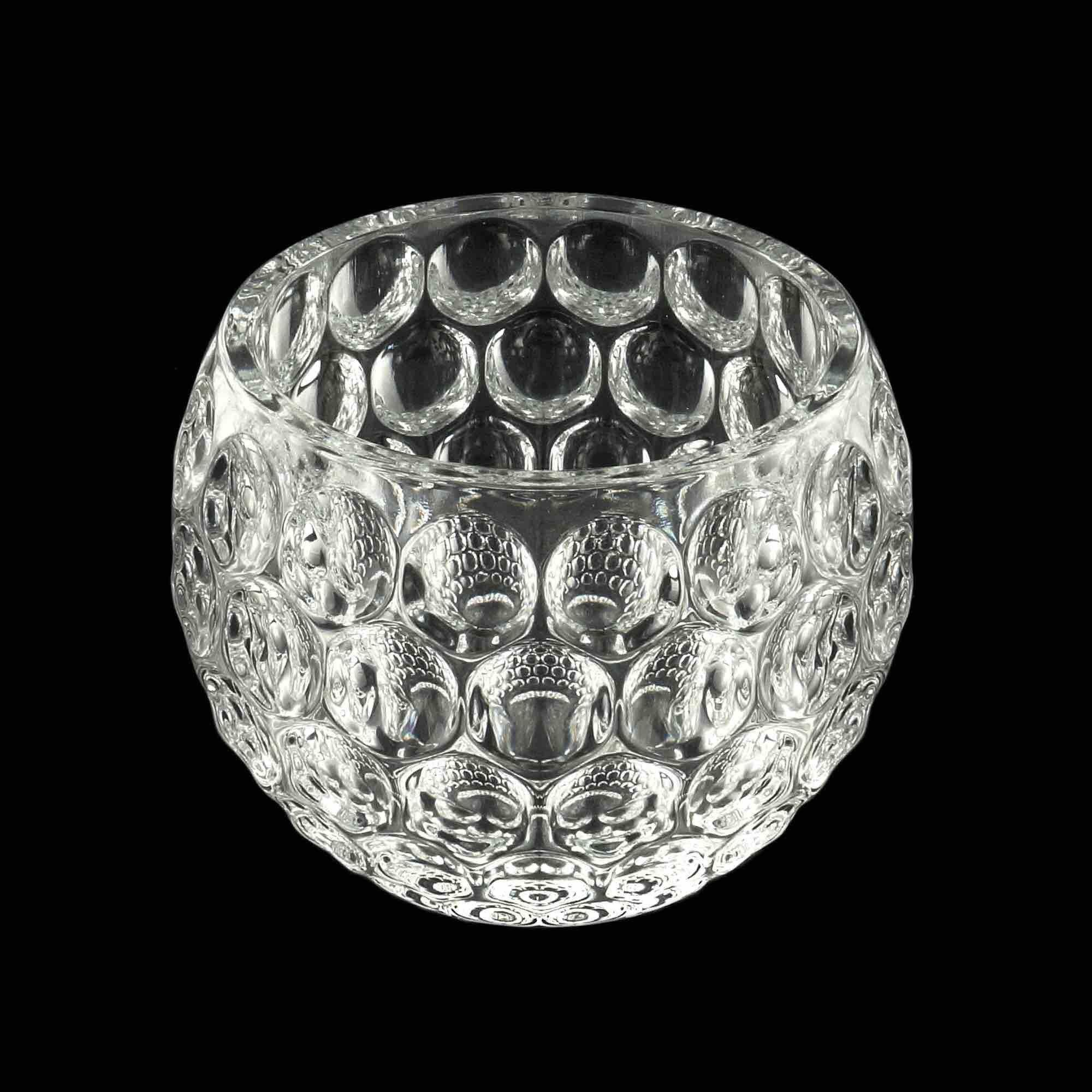 Porta Vela de Cristal Bolhas 13,5 x 10 cm