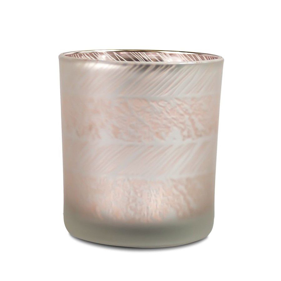 Porta Velas em Vidro Prata e Rose Gold - Listras