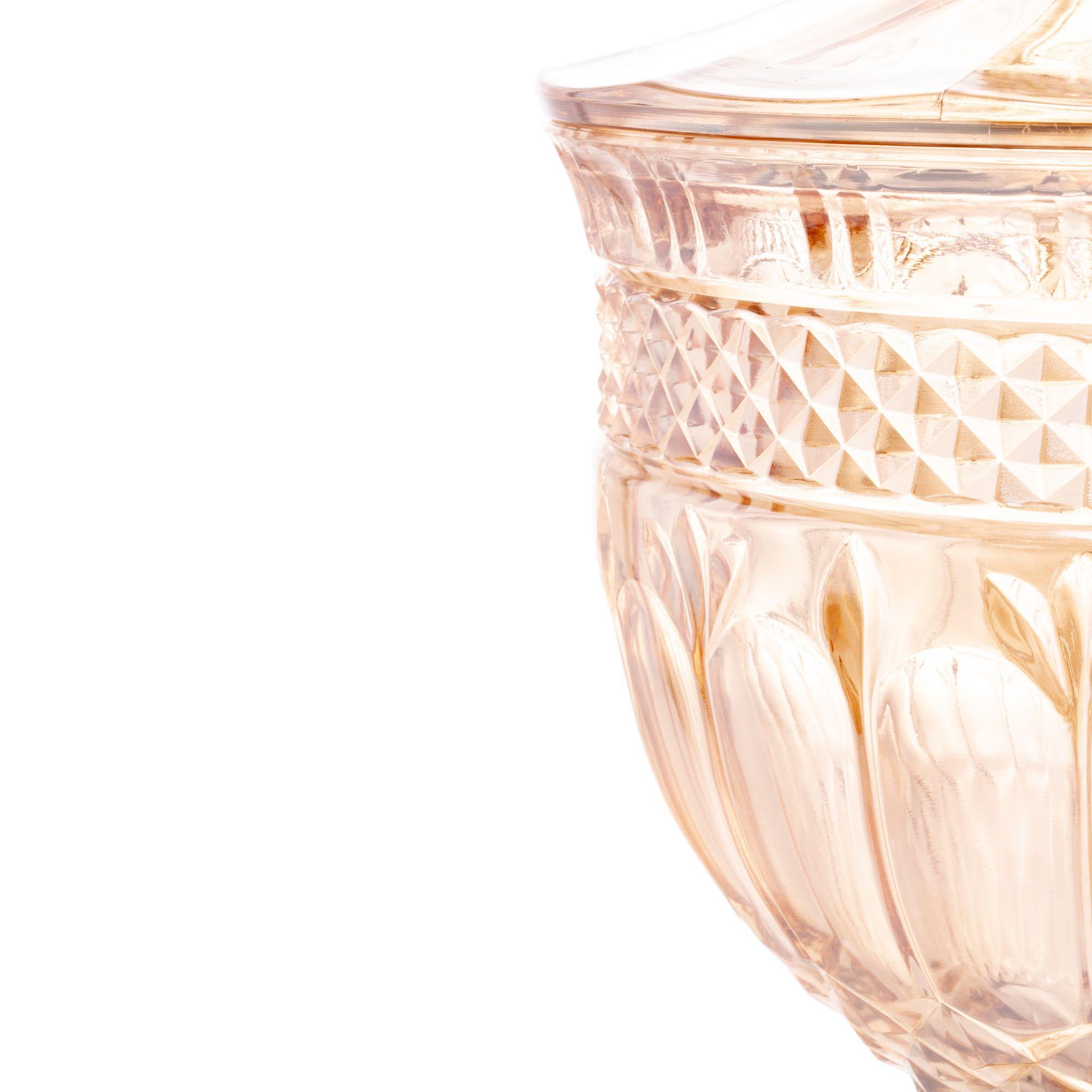 Potiche / Bomboniere com pé de cristal de chumbo Brandon Ambar Metalizado 18,5 x 38,5cm