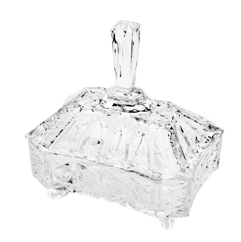 Potiche / Bomboniere com pé de cristal de chumbo Megan 19 x 14,5 x 21,5cm