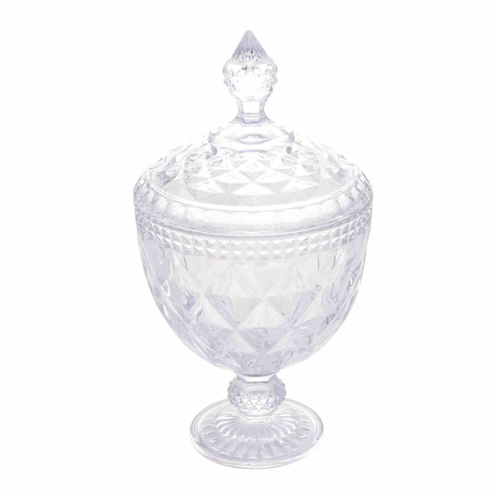 Potiche / Bomboniere com pé  de Cristal Diamond Transparente 15 x 28 cm