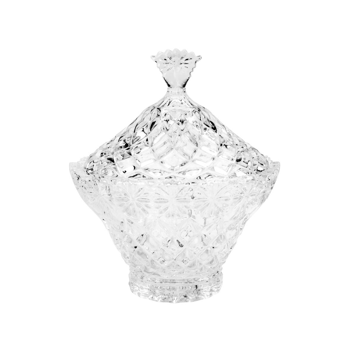 Potiche Bomboniere Decorativo de Cristal de Chumbo Diamond Star 7x13,5x19,5cm