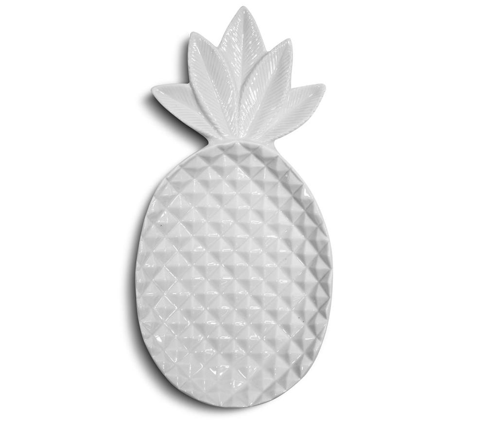 Prato Abacaxi Decorativo Em Cerâmica Branco 26,5X13X3,5Cm