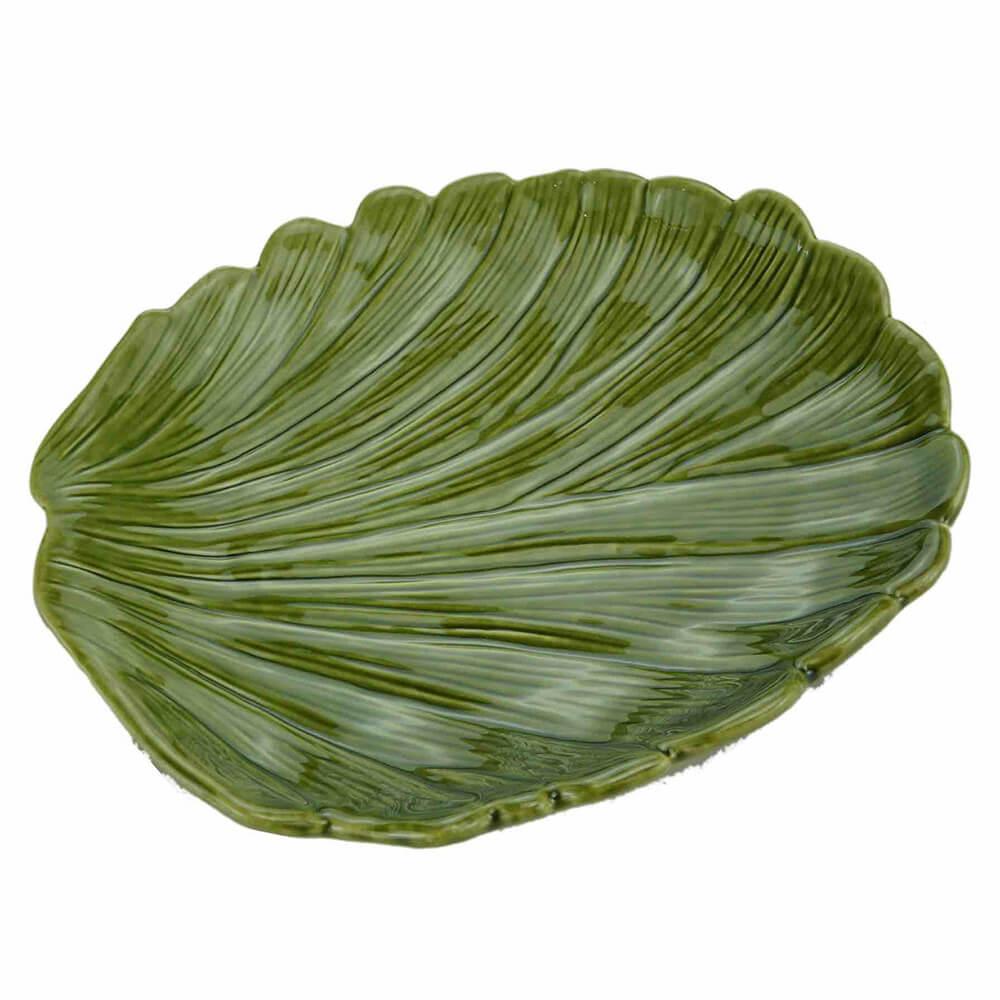 Prato De Cerâmica Banana Leaf Verde 19 x 16 x 3,5 cm