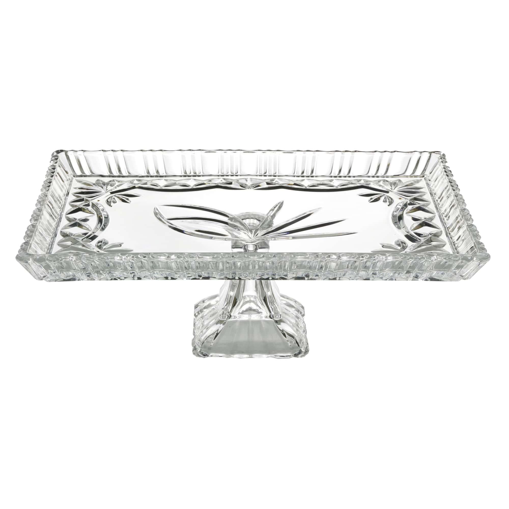 Prato para Bolo com pé de Cristal de Chumbo Janine 29,5 x 19,5 x 10,5 cm