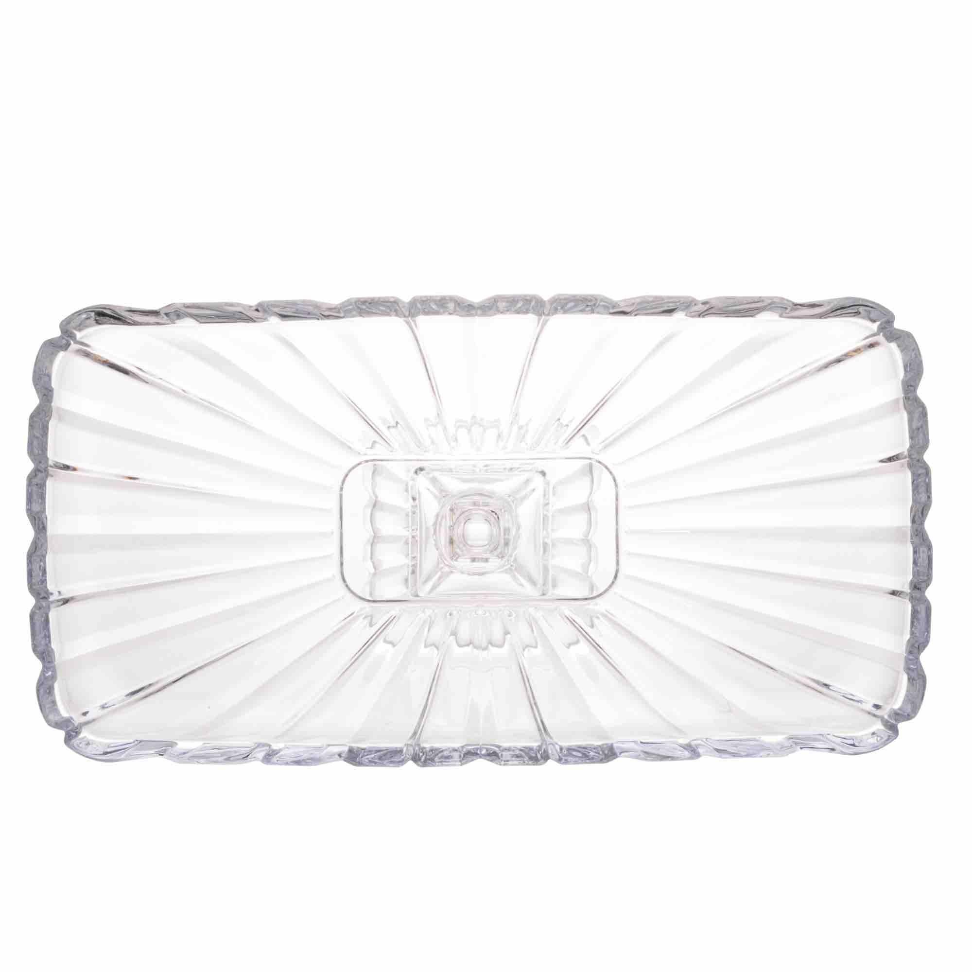 Prato para Bolo com pé de Cristal Quadratta 36,5 x 17 x 14 cm