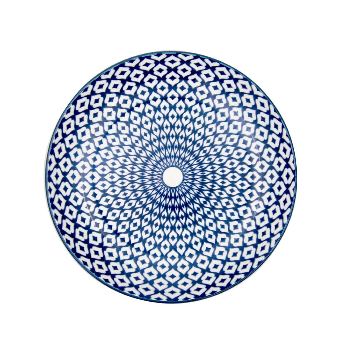 Jogo em 4 Pratos Sobremesa em Porcelana Diamond Azul e Branco