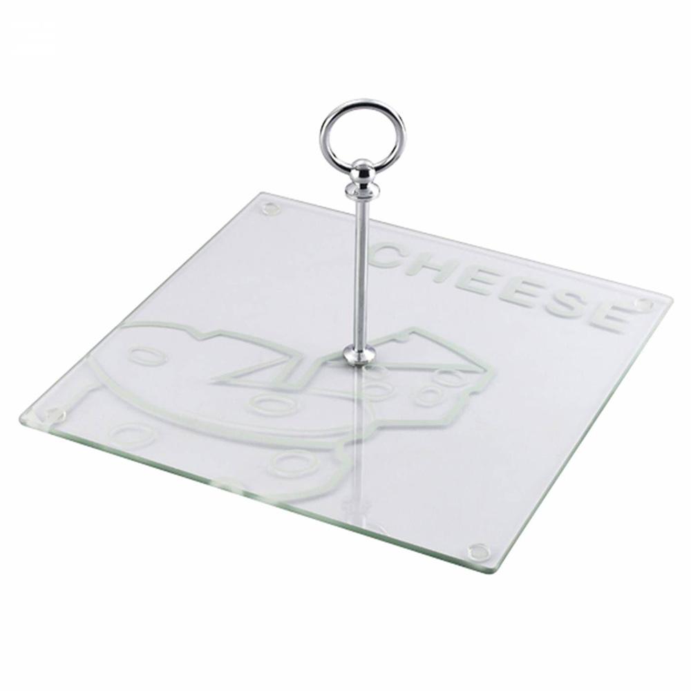 Prato Quadrado De Vidro Para Queijo 30 cm 30 cm x 18 cm