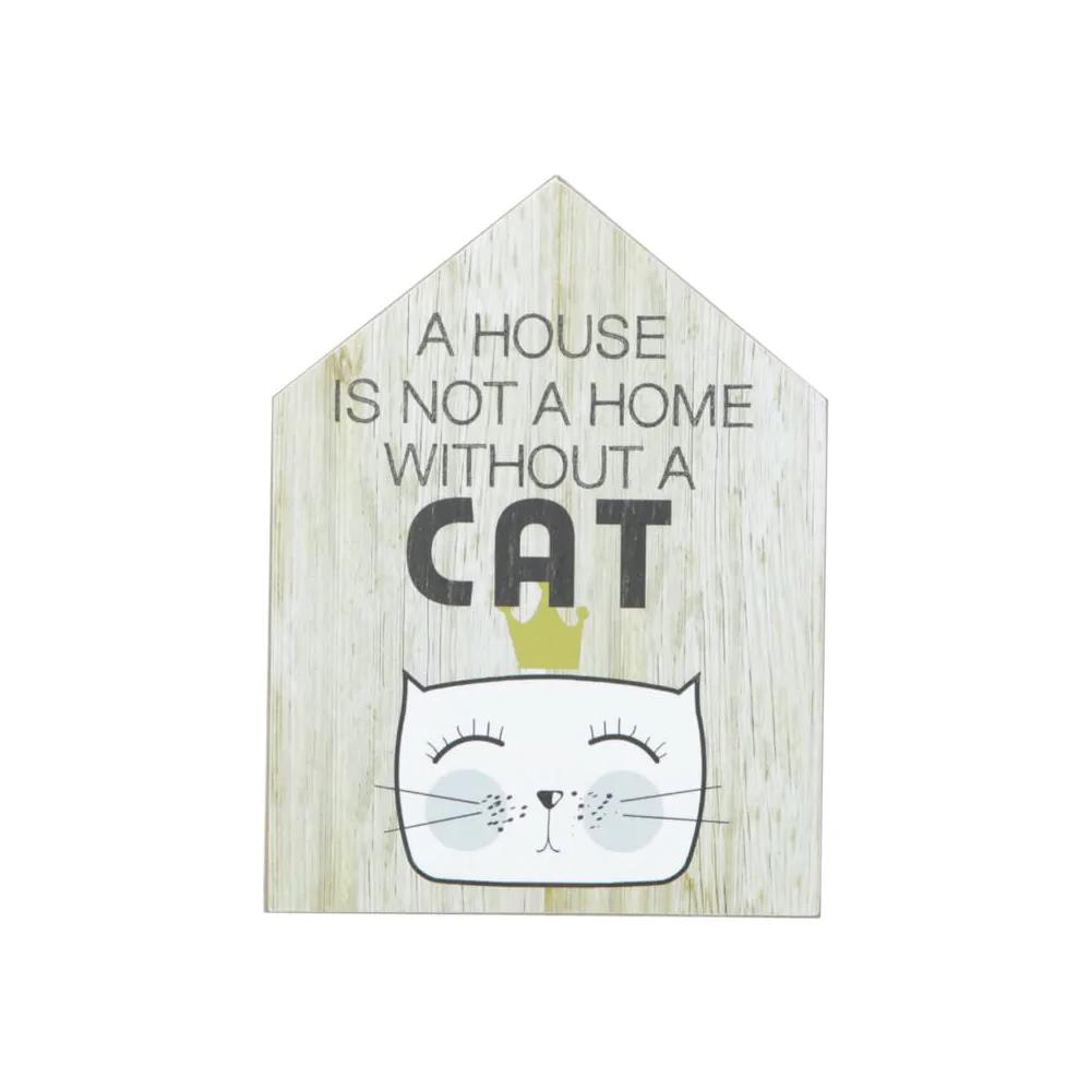 Quadro Gato Cat Em Madeira Decoração Sala Quarto Apartamento