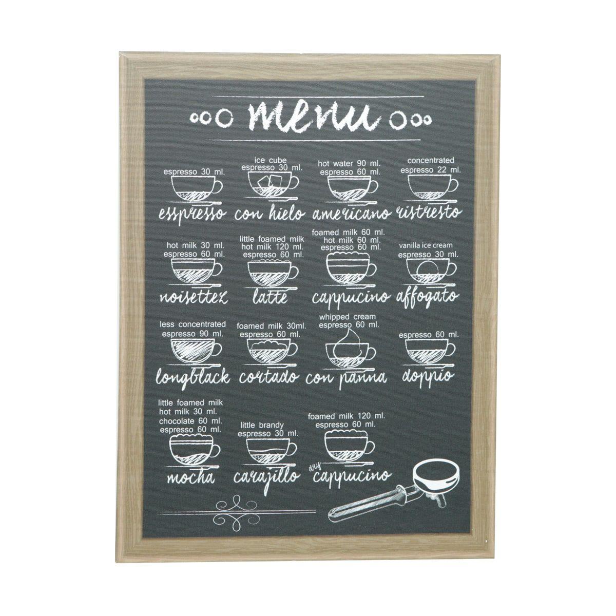 Quadro Menu Coffee 30x40 Madeira/Lona