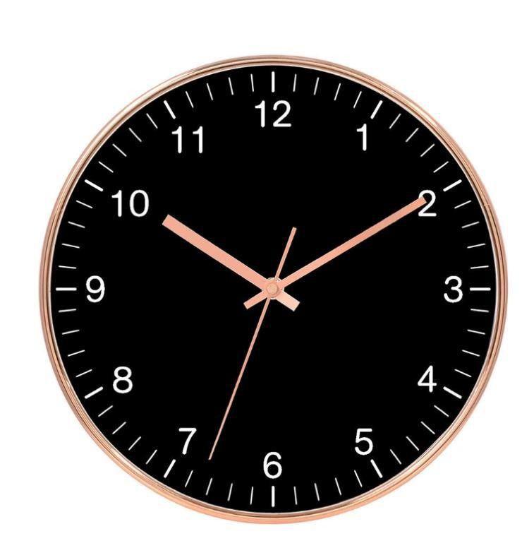 Relógio de Parede de Plástico Cobre e Preto 30 cm x 4 cm