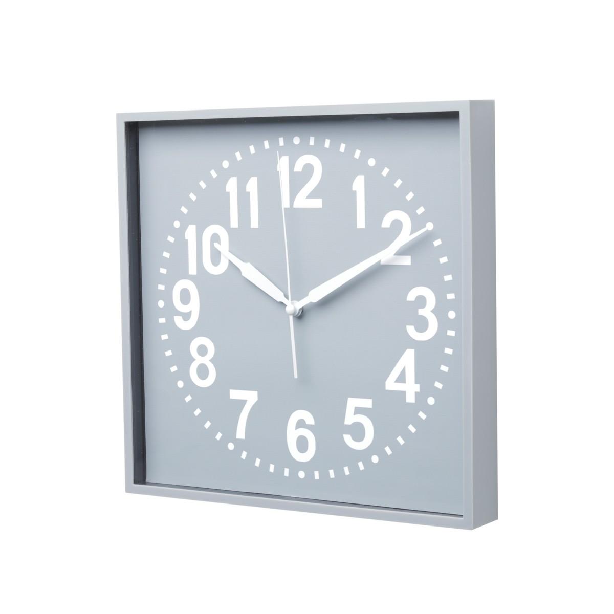 Relógio de Parede de Plástico Square Round Cinza e Branco  28,3 X 4,1 X 28,3 cm