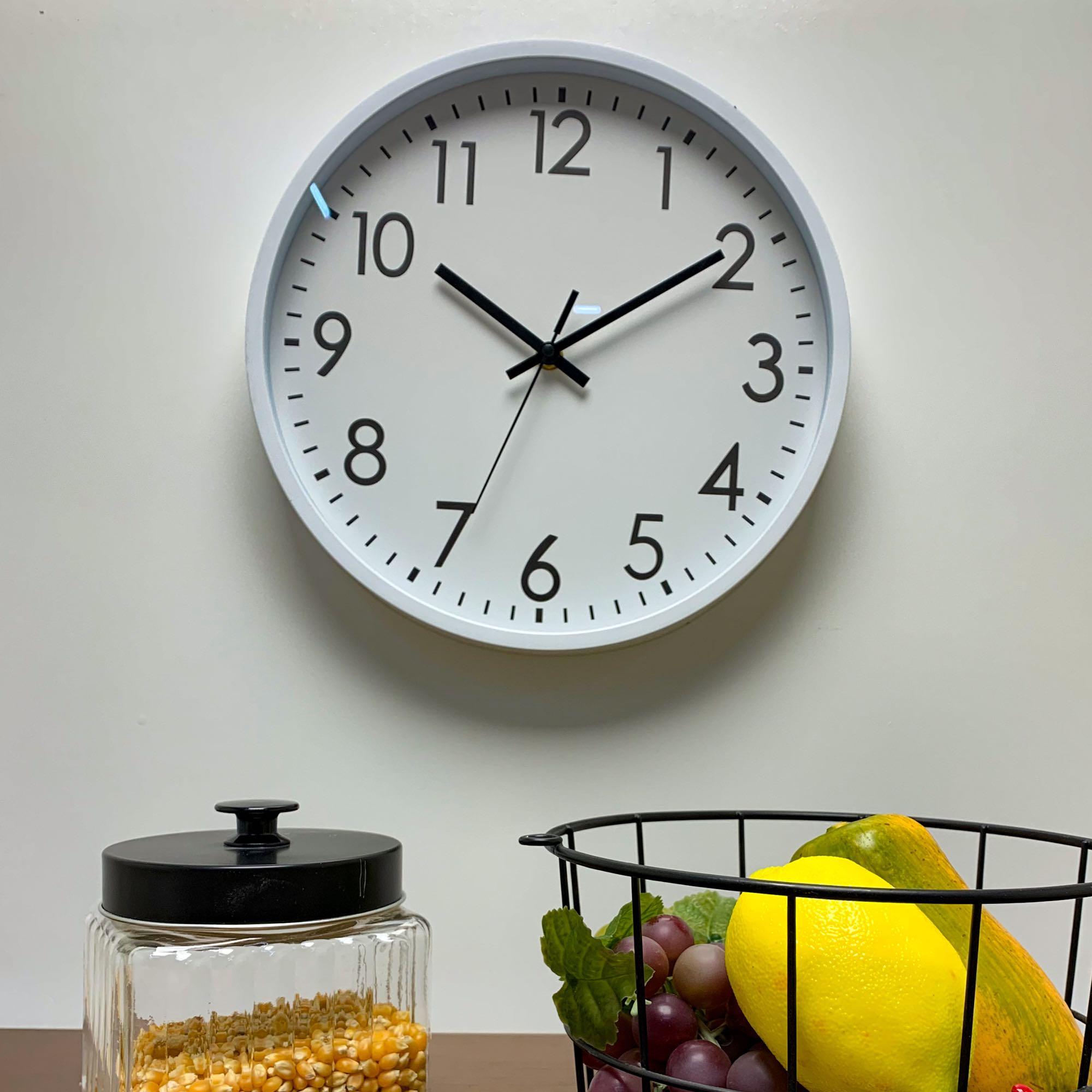 Relógio de Parede Plástico Basic Branco 30,5 x 4 cm