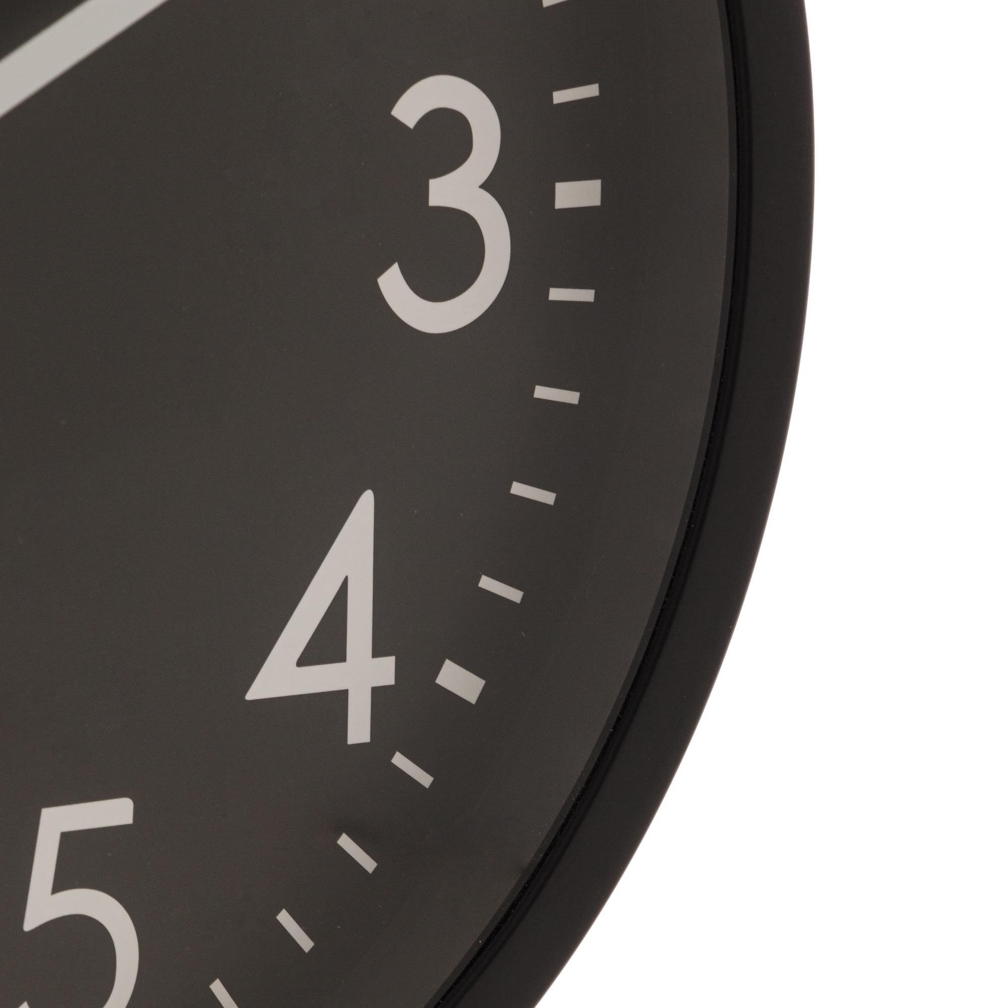 Relógio de Parede Plástico Basic Preto 30,5 x 4 cm