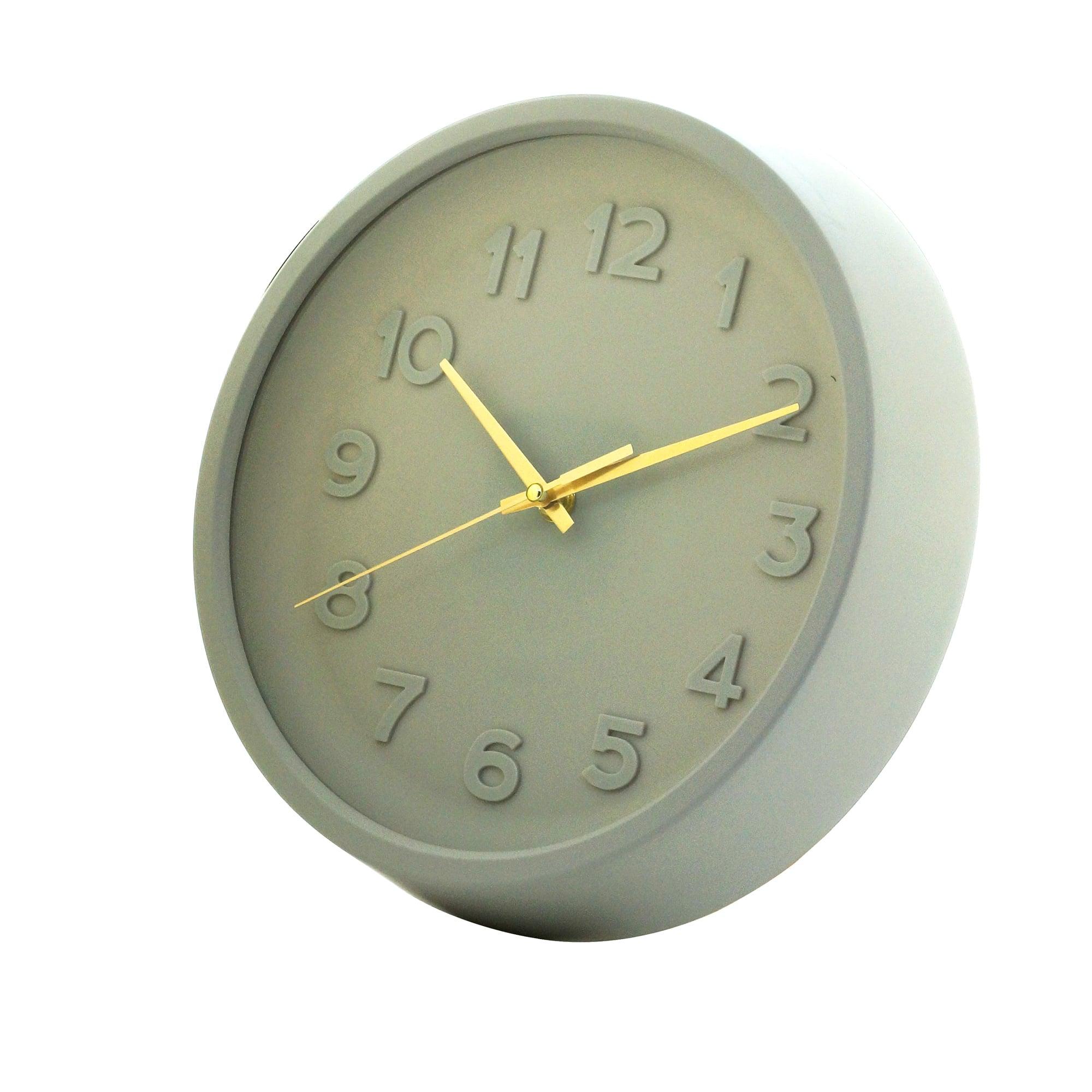 Relógio de Parede Bold Numbers CInza Moderno 27 x 27 x 5 cm