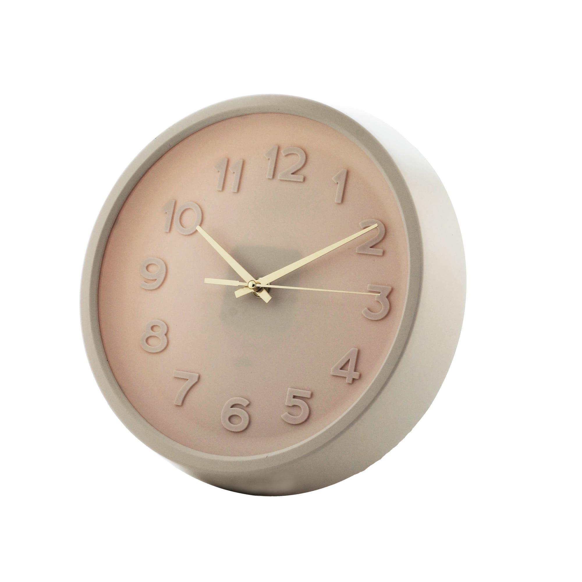 Relógio de Parede Pu Bold Numbers Rosa e Cobre  27 x 27 x 5 cm