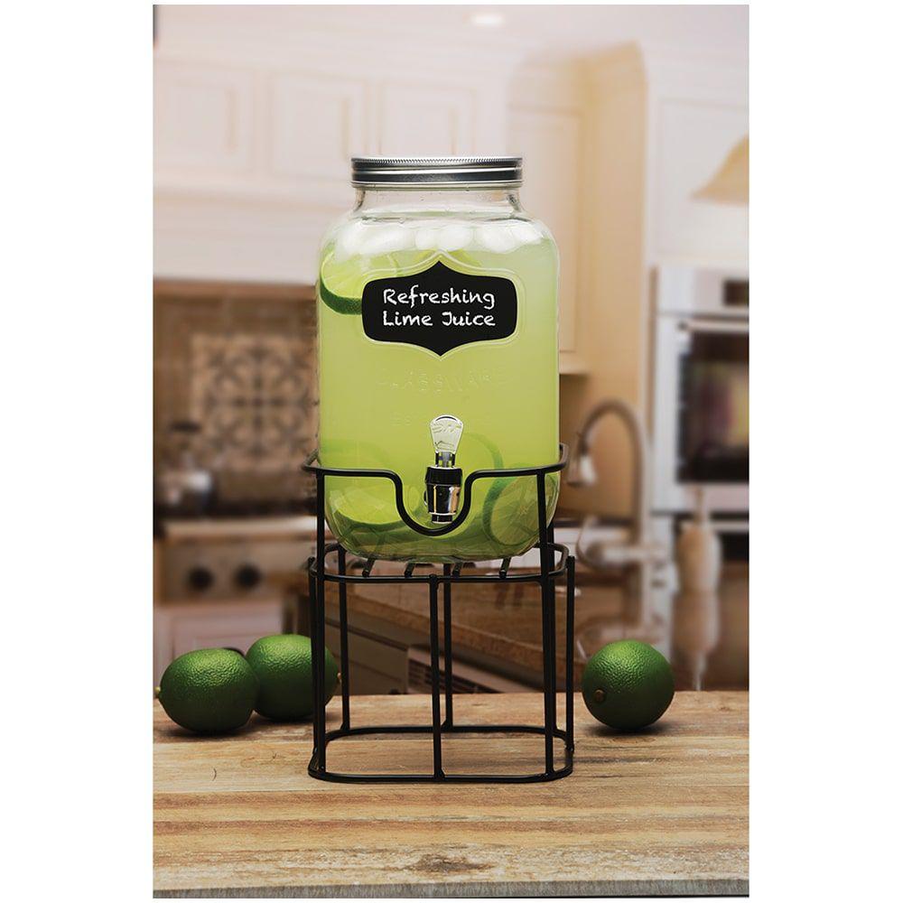 Suqueira em Vidro Transparente com Lousa e Suporte - 3,7 litros