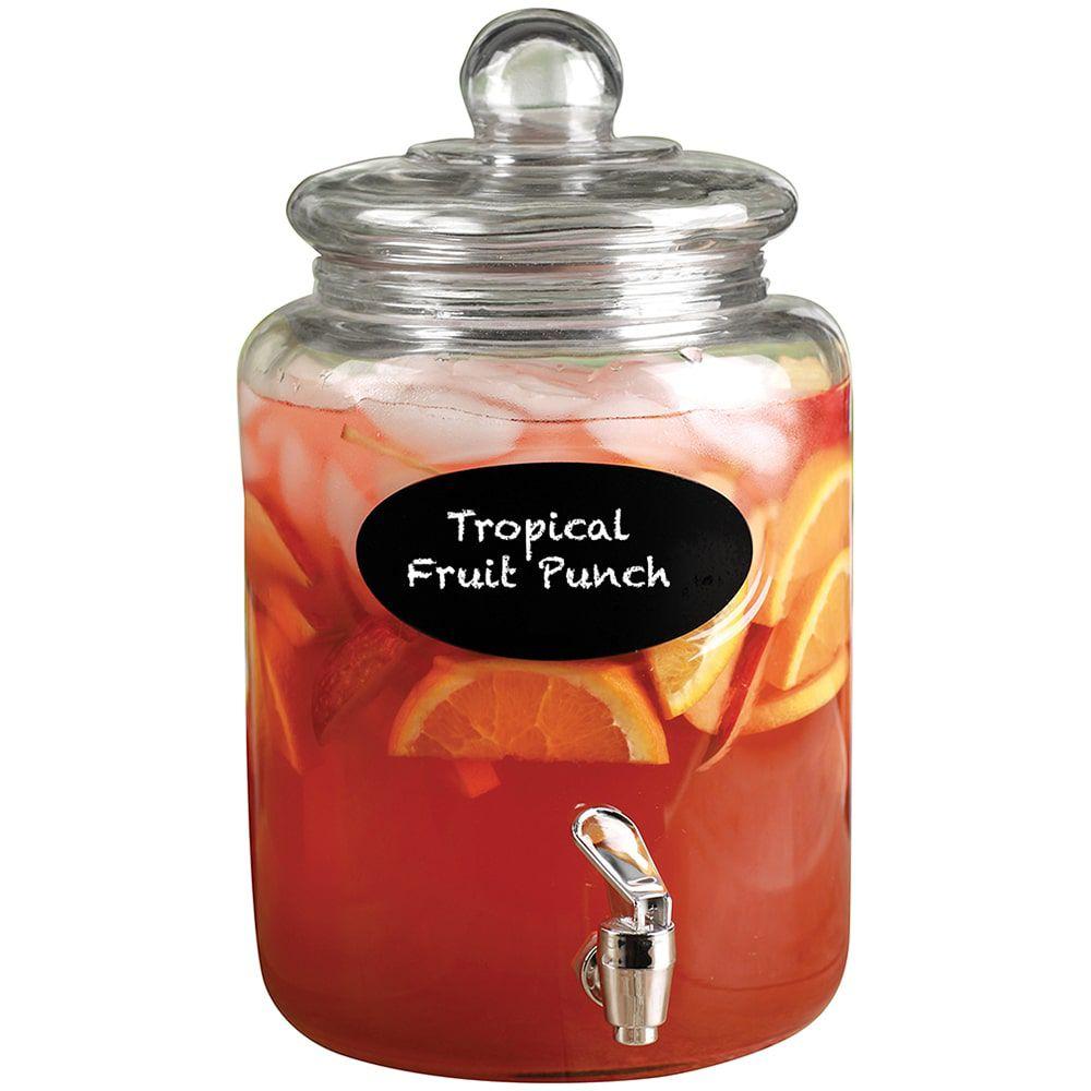 Suqueira de Vidro Transparente com Lousa - 5,6 litros