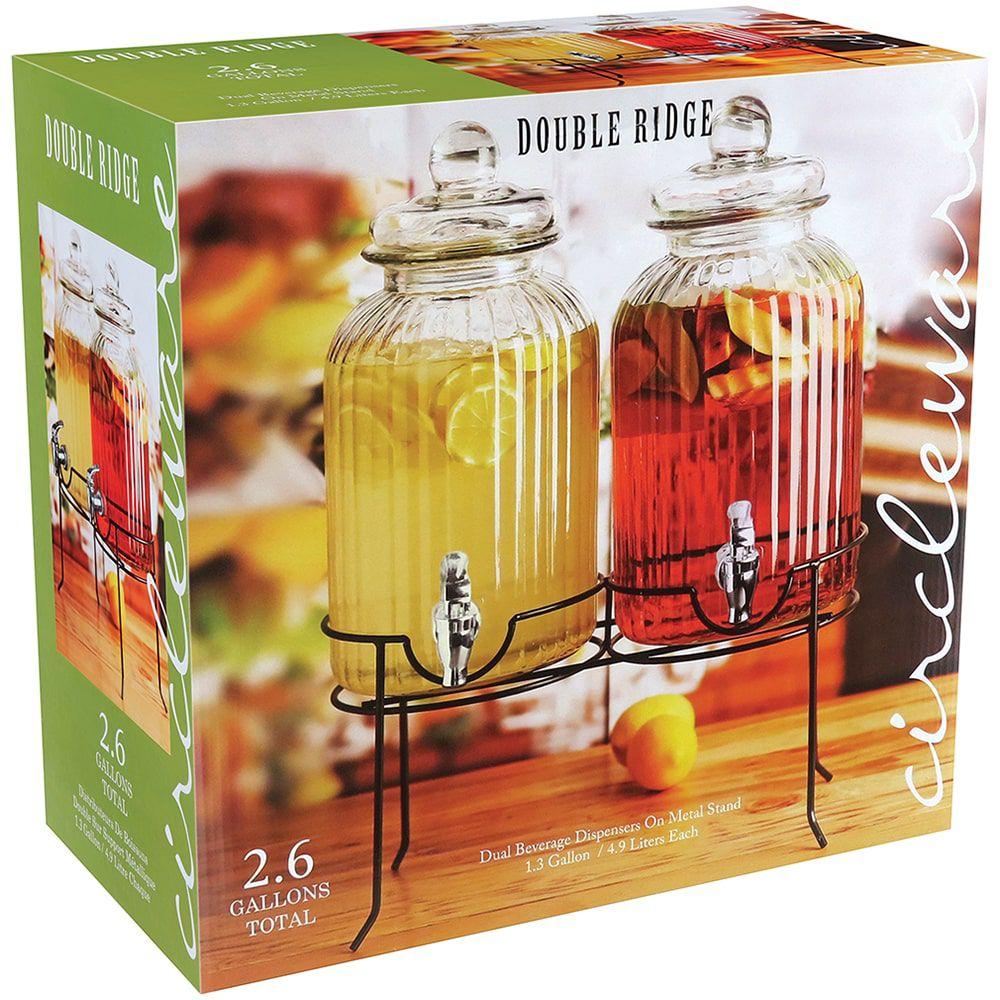 Suqueira Dupla de Vidro com Suporte - 4,9 litros
