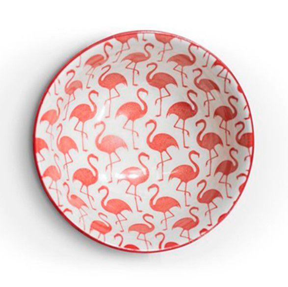 Tigela Bowl Cumbuca em Cerâmica Colorida Flamingo